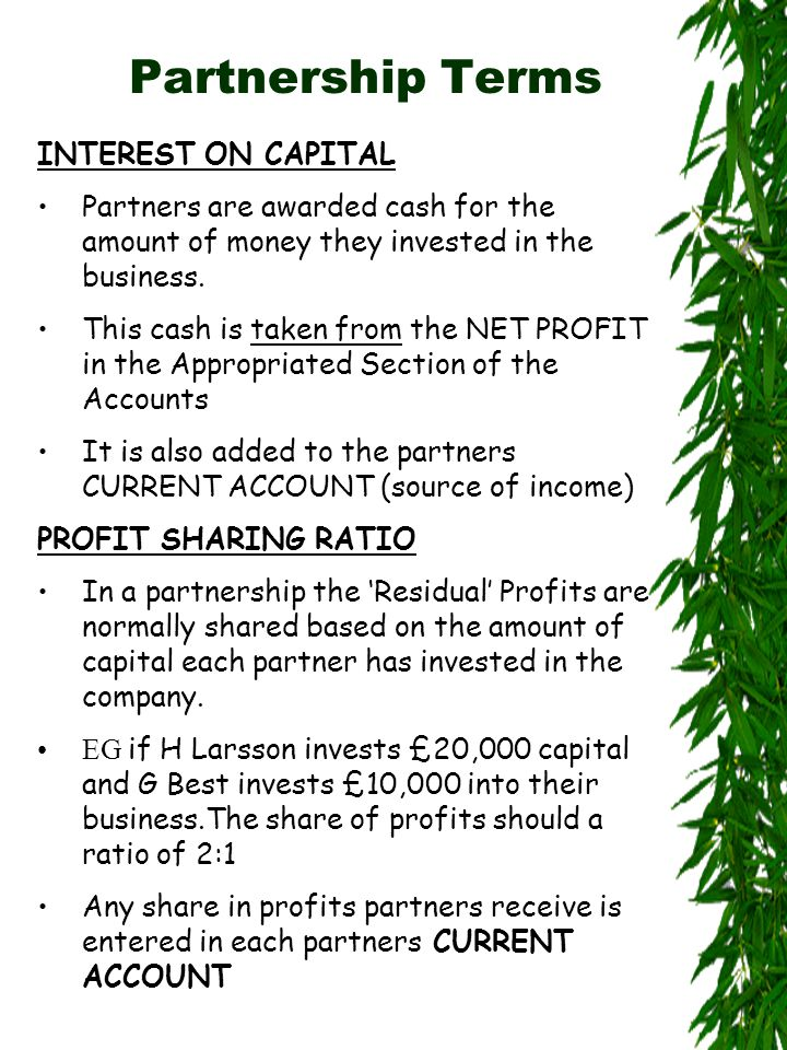 Exercise 6 – Williams & Stewart Notes Interest on Capital Williams Capital45,000 Interst 5%2,250 per year Divide by 2 1,125 6 months Stewart Capital30,000 Interst 5%1,500 per year Divide by 2 750 6 months