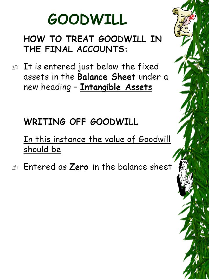 GOODWILL HOW TO TREAT GOODWILL IN THE FINAL ACCOUNTS:  It is entered just below the fixed assets in the Balance Sheet under a new heading – Intangible Assets WRITING OFF GOODWILL In this instance the value of Goodwill should be  Entered as Zero in the balance sheet