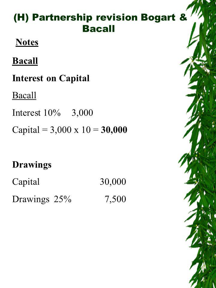 (H) Partnership revision Bogart & Bacall Notes Bacall Interest on Capital Bacall Interest 10%3,000 Capital = 3,000 x 10 = 30,000 Drawings Capital30,000 Drawings 25%7,500