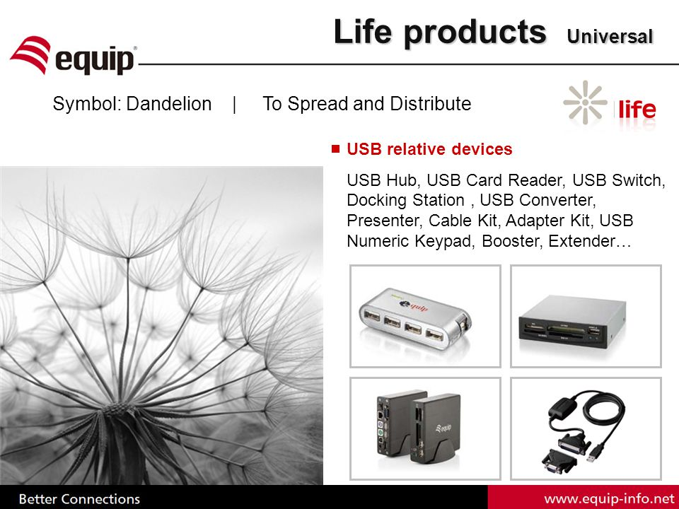 Life products Universal Symbol: Dandelion | To Spread and Distribute USB relative devices USB Hub, USB Card Reader, USB Switch, Docking Station, USB Converter, Presenter, Cable Kit, Adapter Kit, USB Numeric Keypad, Booster, Extender…