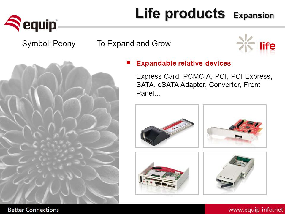Life products Expansion Symbol: Peony | To Expand and Grow Expandable relative devices Express Card, PCMCIA, PCI, PCI Express, SATA, eSATA Adapter, Converter, Front Panel…