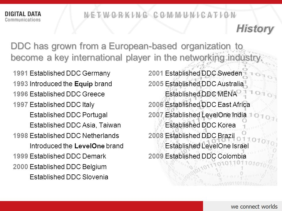Digital Data Communications Group has grown from its German grassroots to an international organization represented in - more than 65 countries around the world.