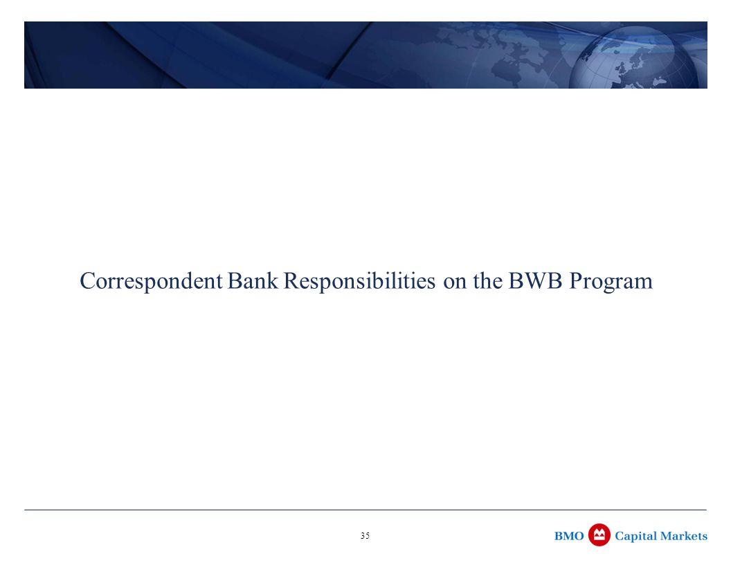35 Correspondent Bank Responsibilities on the BWB Program