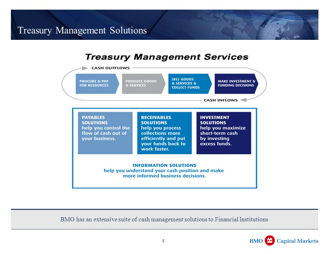 8 Treasury Management Solutions BMO has an extensive suite of cash management solutions to Financial Institutions