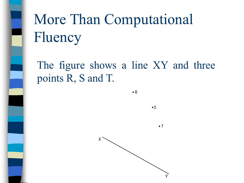 More Than Computational Fluency The figure shows a line XY and three points R, S and T.
