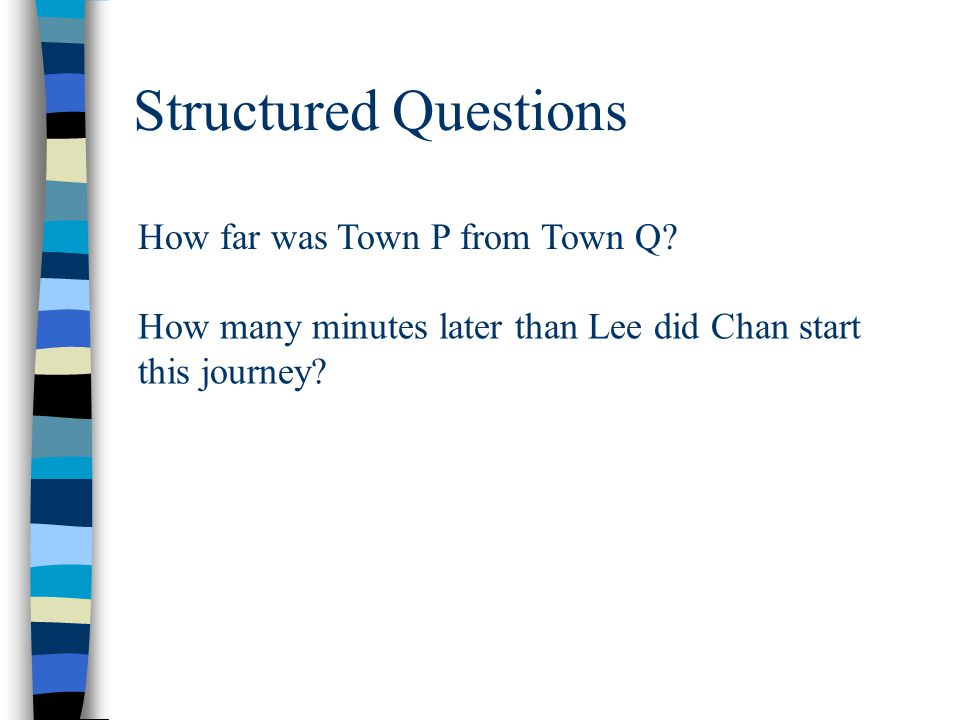 Structured Questions How far was Town P from Town Q? How many minutes later than Lee did Chan start this journey?