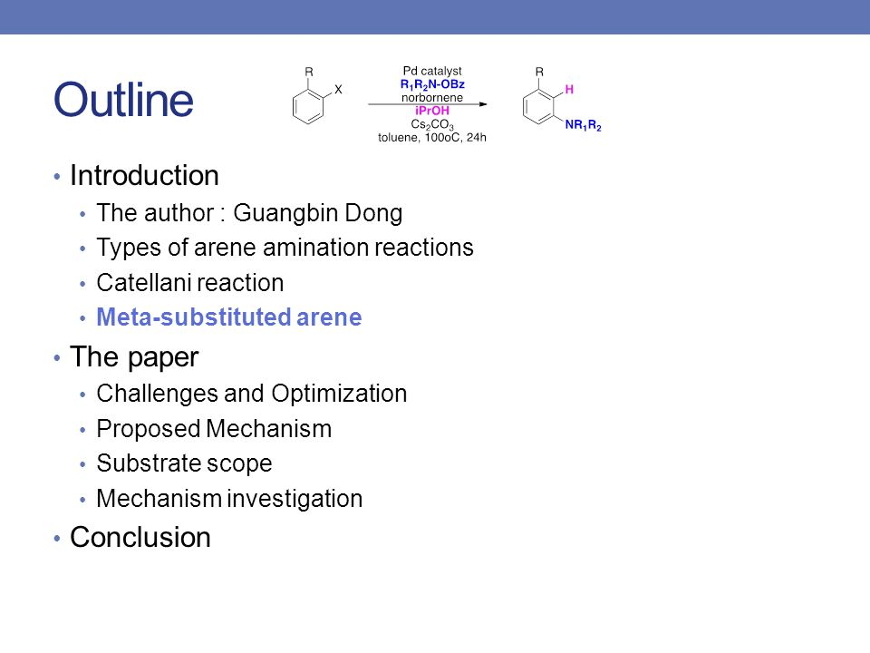 Outline Introduction The author : Guangbin Dong Types of arene amination reactions Catellani reaction Meta-substituted arene The paper Challenges and Optimization Proposed Mechanism Substrate scope Mechanism investigation Conclusion