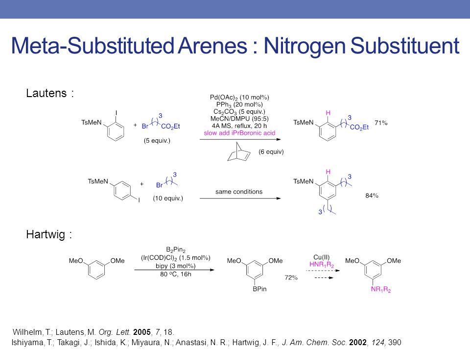 Meta-Substituted Arenes : Nitrogen Substituent Lautens : Wilhelm, T.; Lautens, M.