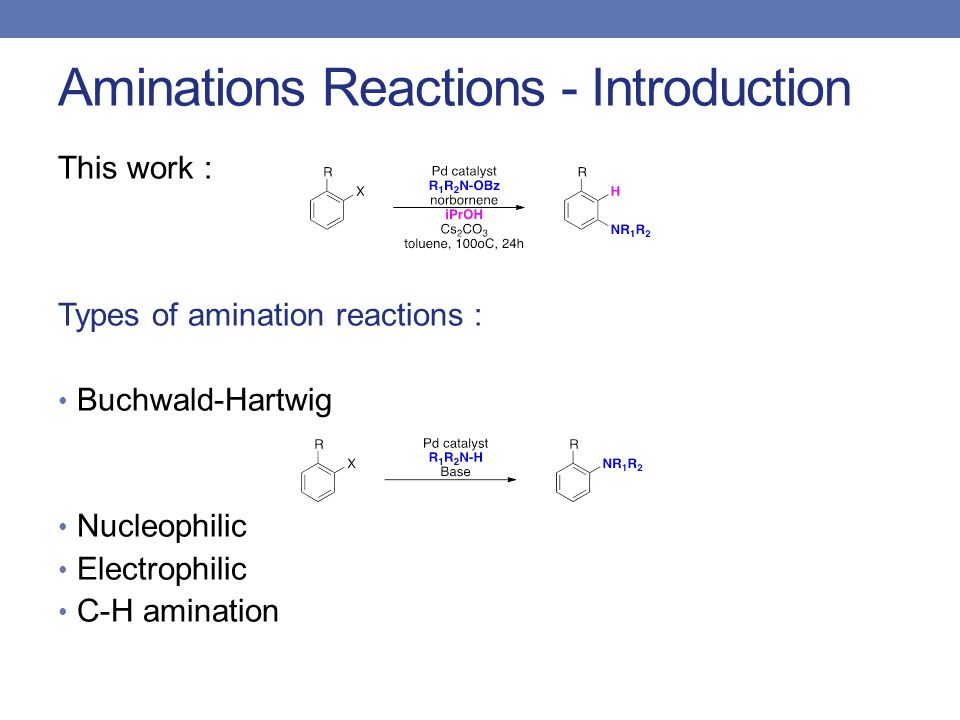 Aminations Reactions - Introduction Types of amination reactions : Buchwald-Hartwig Nucleophilic Electrophilic C-H amination This work :