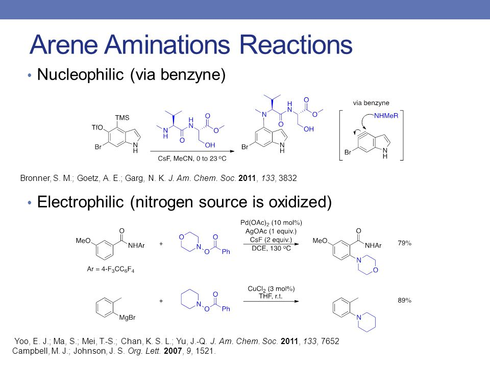 Arene Aminations Reactions Nucleophilic (via benzyne) Electrophilic (nitrogen source is oxidized) Yoo, E.