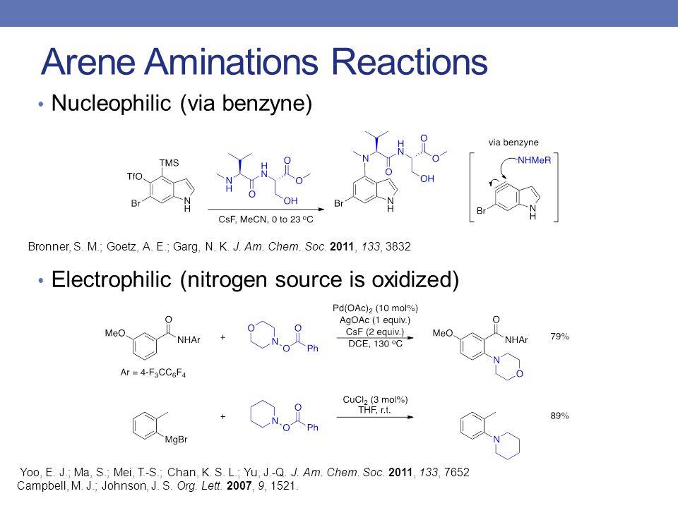 Arene Aminations Reactions Nucleophilic (via benzyne) Electrophilic (nitrogen source is oxidized) Yoo, E.