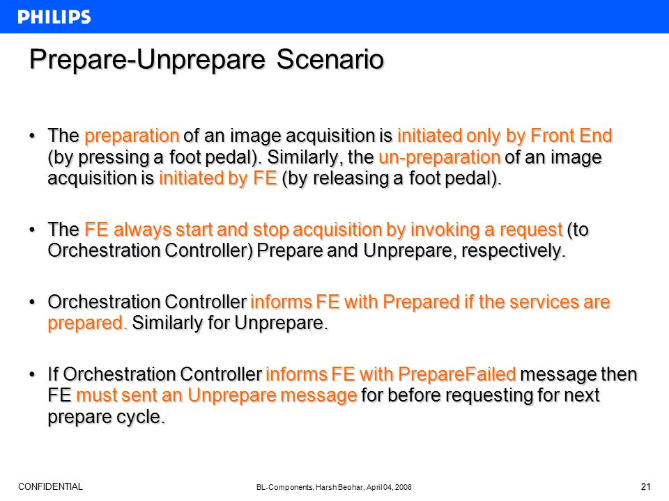 CONFIDENTIAL BL-Components, Harsh Beohar, April 04, 2008 21 Prepare-Unprepare Scenario The preparation of an image acquisition is initiated only by Fr