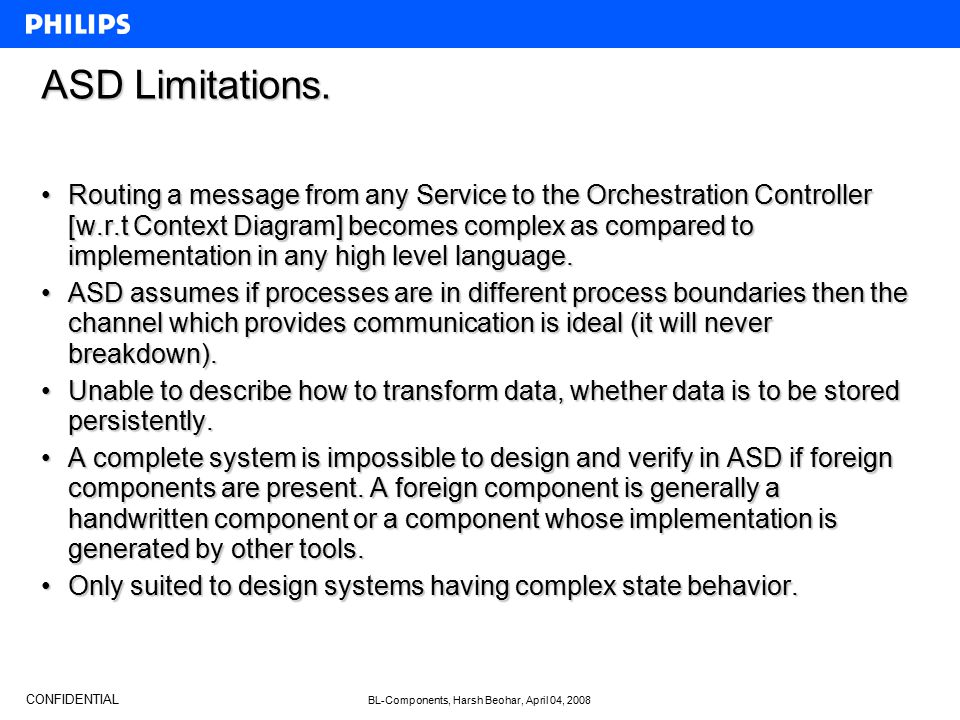 CONFIDENTIAL BL-Components, Harsh Beohar, April 04, 2008 ASD Limitations. Routing a message from any Service to the Orchestration Controller [w.r.t Co