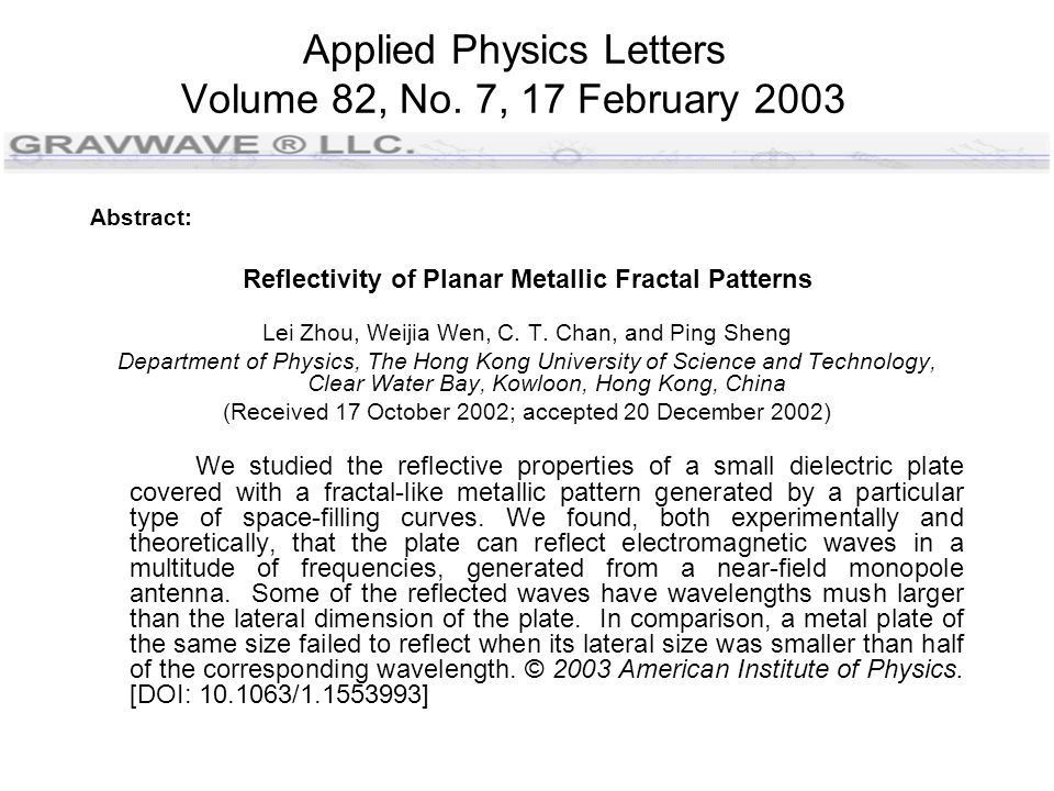 Applied Physics Letters Volume 82, No.