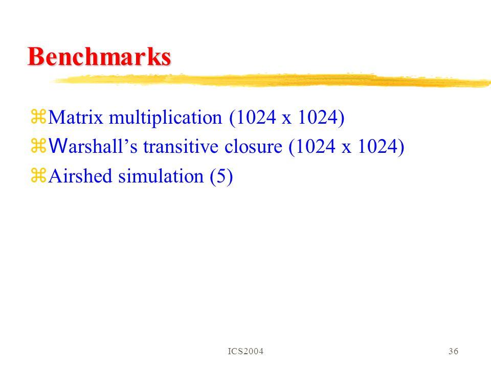 ICS200436 Benchmarks zMatrix multiplication (1024 x 1024) z W arshall's transitive closure (1024 x 1024) zAirshed simulation (5)