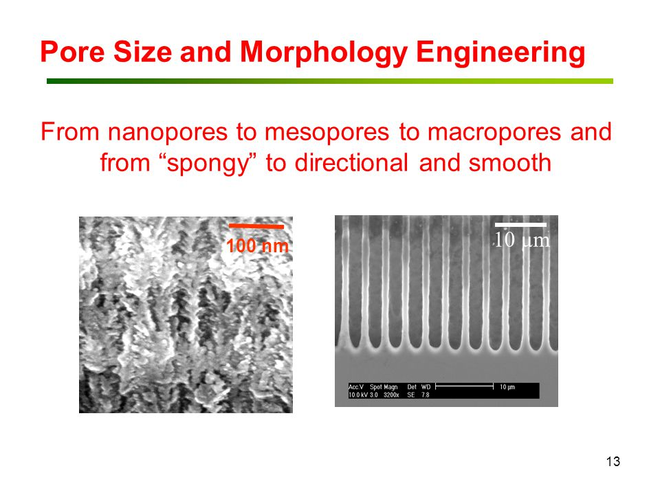 "13 10 µm Pore Size and Morphology Engineering From nanopores to mesopores to macropores and from ""spongy"" to directional and smooth 100 nm"