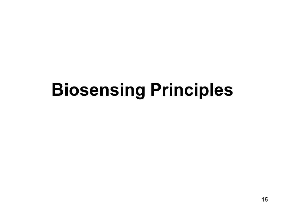15 Biosensing Principles