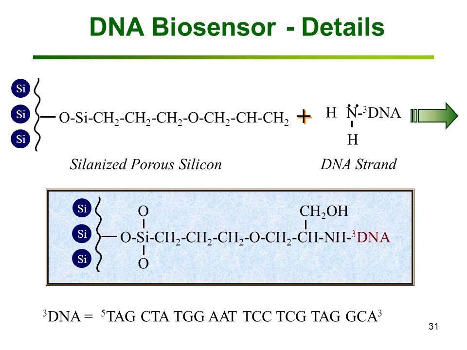 31 DNA Biosensor - Details Si O-Si-CH 2 -CH 2 -CH 2 -O-CH 2 -CH-CH 2 O O O + + N- 3 DNA H H Silanized Porous Silicon DNA Strand..