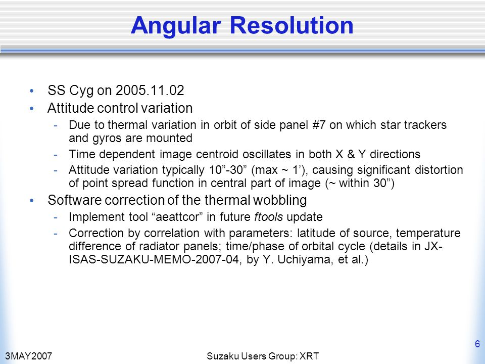 3MAY2007Suzaku Users Group: XRT 6 Angular Resolution SS Cyg on 2005.11.02 Attitude control variation -Due to thermal variation in orbit of side panel