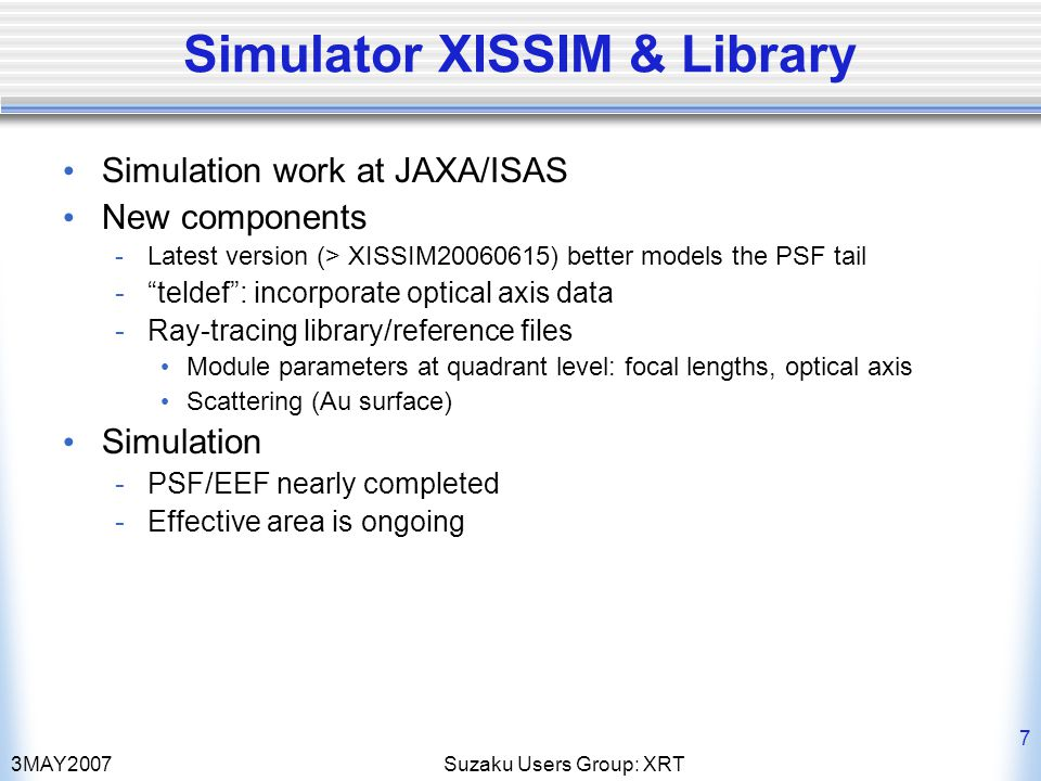 3MAY2007Suzaku Users Group: XRT 8 Point Spread Function SS CygXISSIM 20060615Current Test version