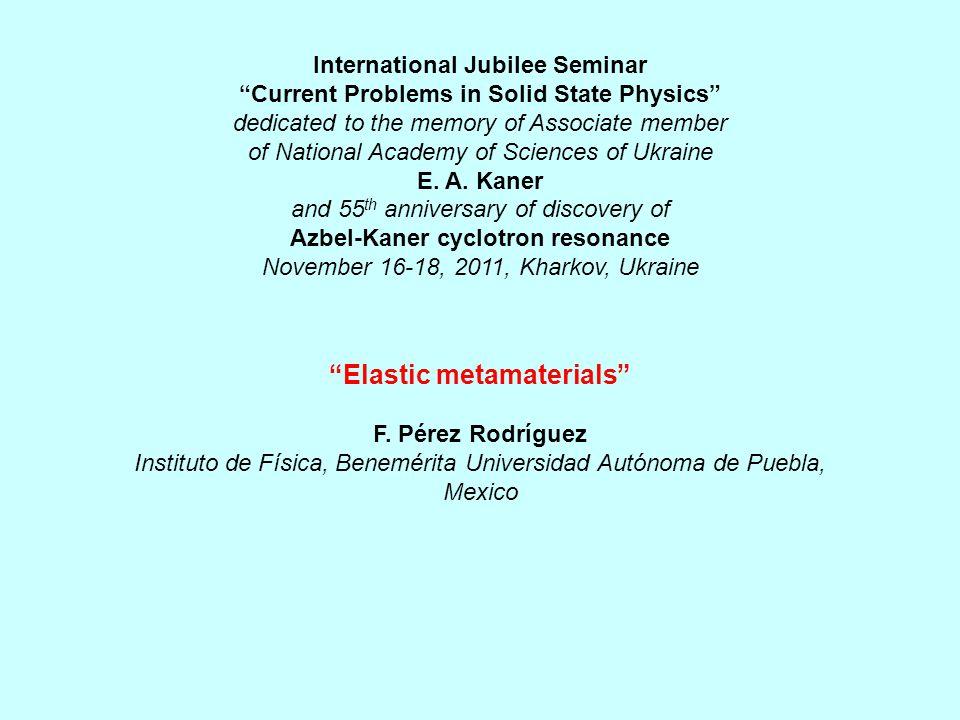 Elastic metamaterials F.