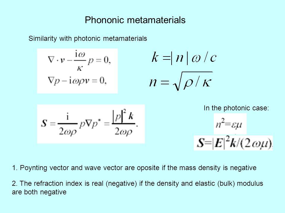 Phononic metamaterials Similarity with photonic metamaterials 1.