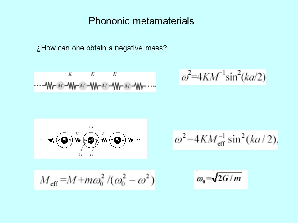 Phononic metamaterials ¿How can one obtain a negative mass?