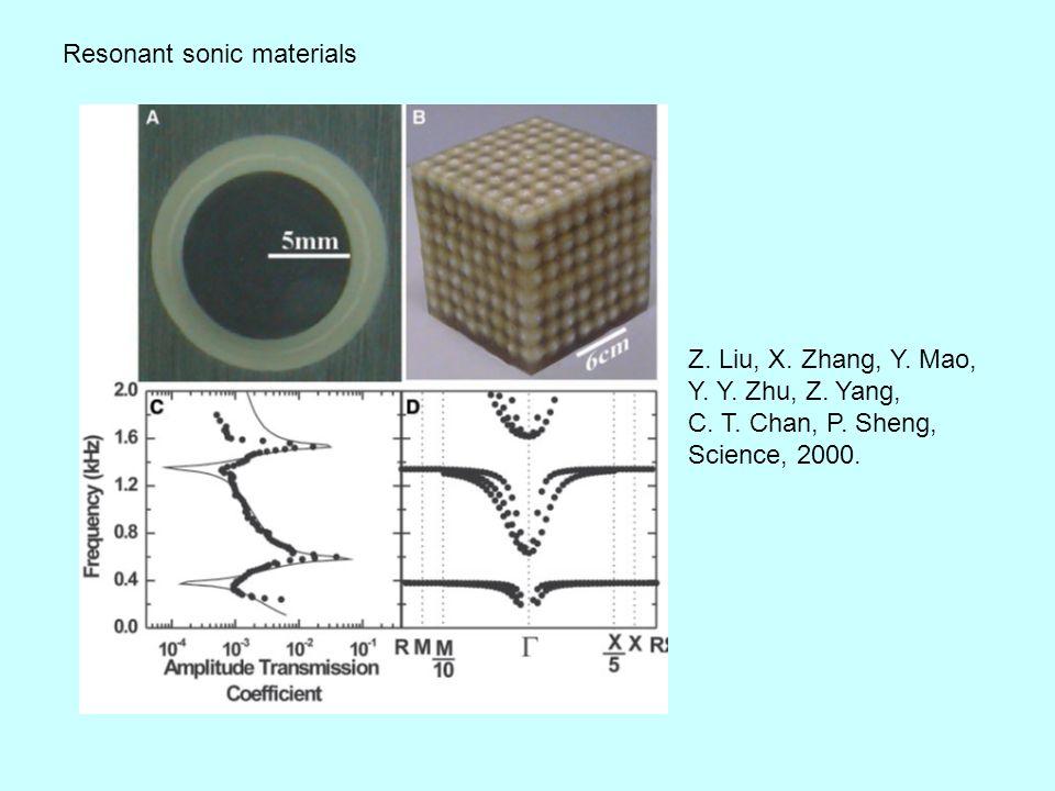 Resonant sonic materials Z. Liu, X. Zhang, Y. Mao, Y.