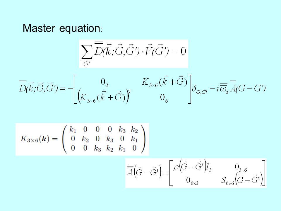 Master equation :