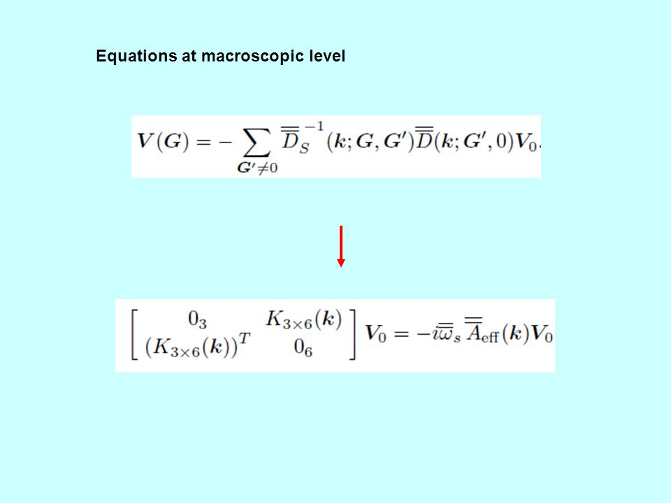 Equations at macroscopic level