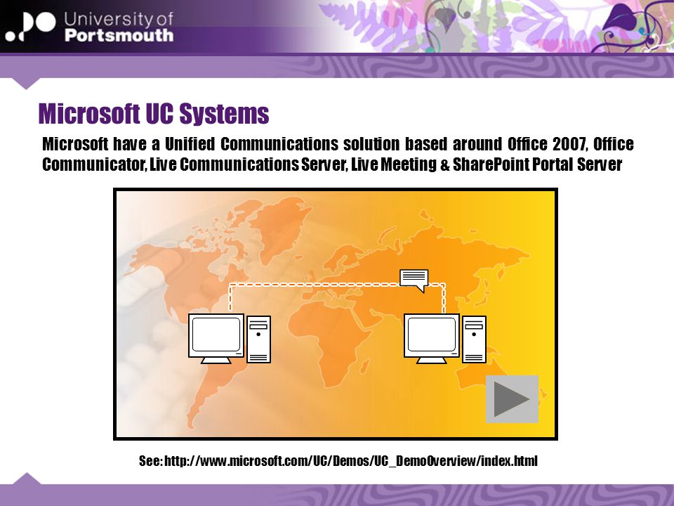 Microsoft UC Systems See: http://www.microsoft.com/UC/Demos/UC_DemoOverview/index.html Microsoft have a Unified Communications solution based around Office 2007, Office Communicator, Live Communications Server, Live Meeting & SharePoint Portal Server