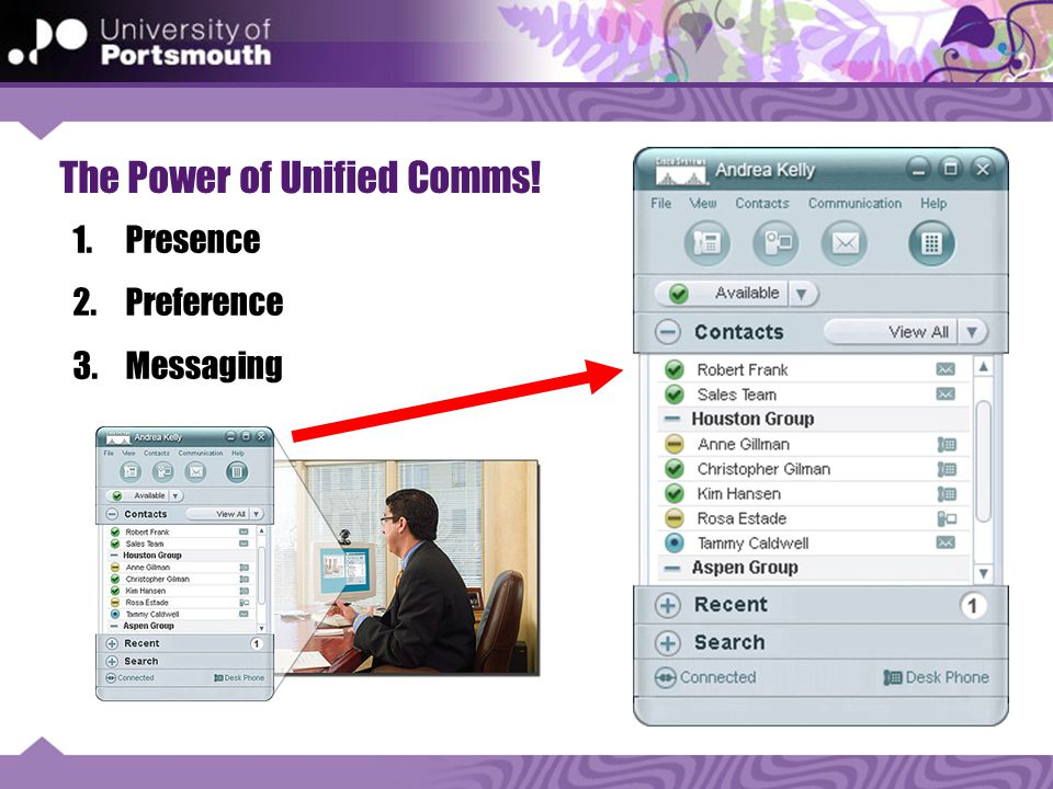 The Power of Unified Comms! 1.Presence 2.Preference 3.Messaging