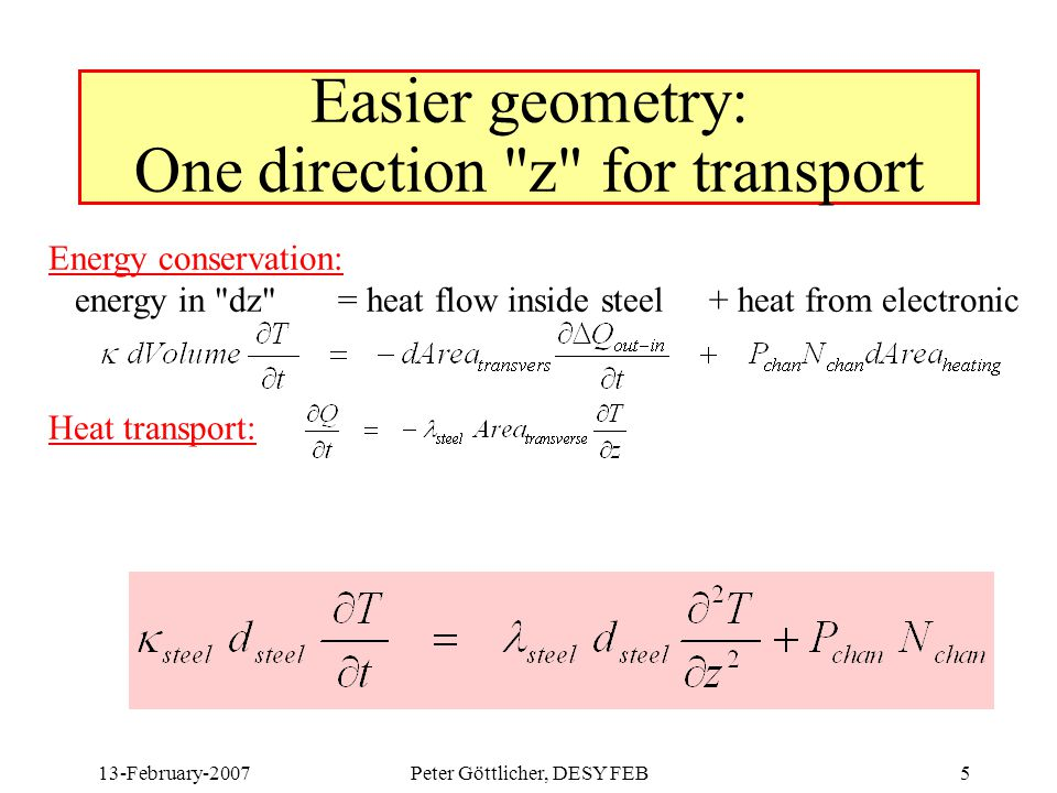 13-February-2007Peter Göttlicher, DESY FEB5 Easier geometry: One direction z for transport Energy conservation: energy in dz = heat flow inside steel + heat from electronic Heat transport: