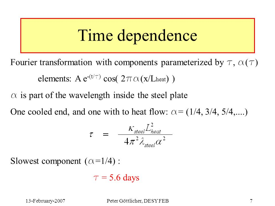 13-February-2007Peter Göttlicher, DESY FEB7 Time dependence Fourier transformation with components parameterized by t, a ( t ) elements: A e -(t/ t ) cos( 2 pa (x/L heat ) ) a is part of the wavelength inside the steel plate One cooled end, and one with to heat flow: a = (1/4, 3/4, 5/4,....) Slowest component ( a =1/4) : t = 5.6 days