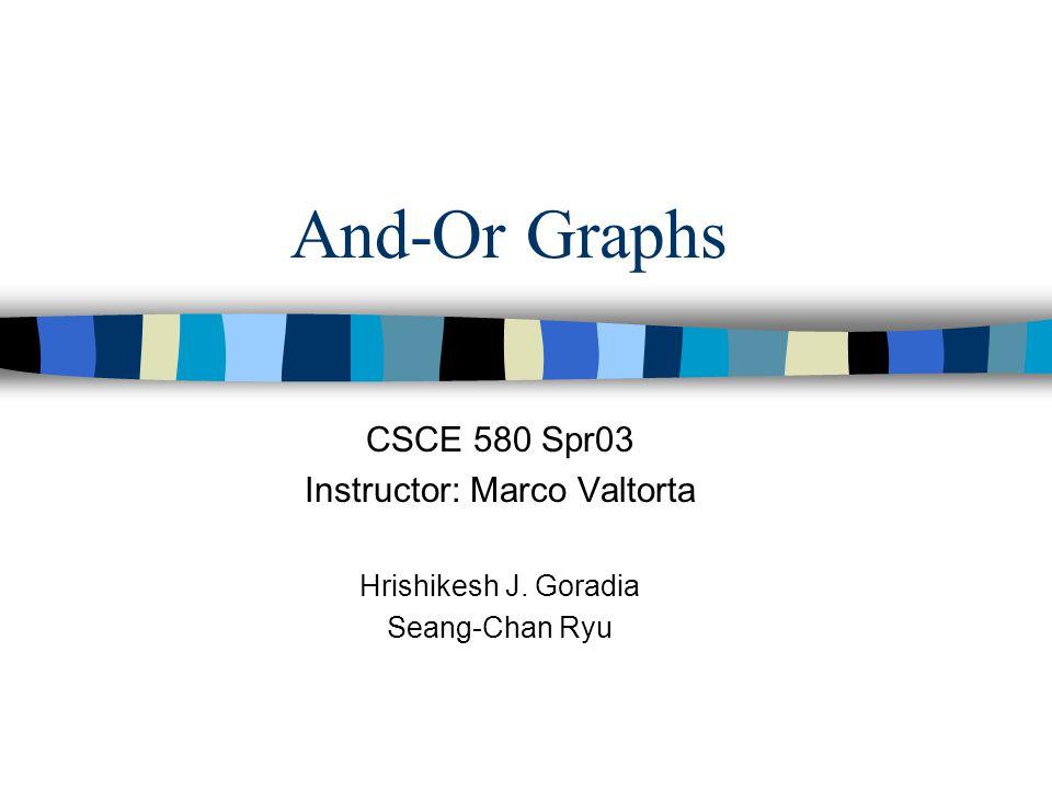 And-Or Graphs CSCE 580 Spr03 Instructor: Marco Valtorta Hrishikesh J. Goradia Seang-Chan Ryu