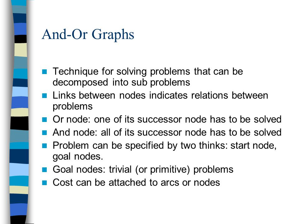 And-Or Graphs Technique for solving problems that can be decomposed into sub problems Links between nodes indicates relations between problems Or node: one of its successor node has to be solved And node: all of its successor node has to be solved Problem can be specified by two thinks: start node, goal nodes.