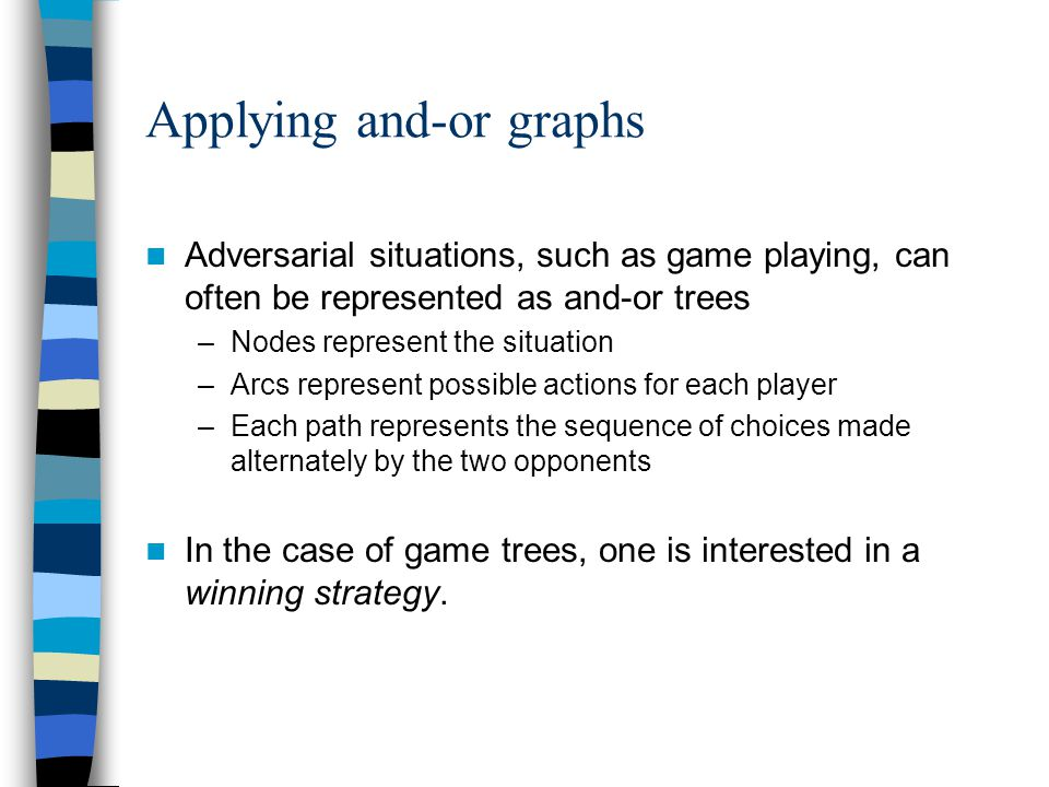 Applying and-or graphs Adversarial situations, such as game playing, can often be represented as and-or trees –Nodes represent the situation –Arcs represent possible actions for each player –Each path represents the sequence of choices made alternately by the two opponents In the case of game trees, one is interested in a winning strategy.