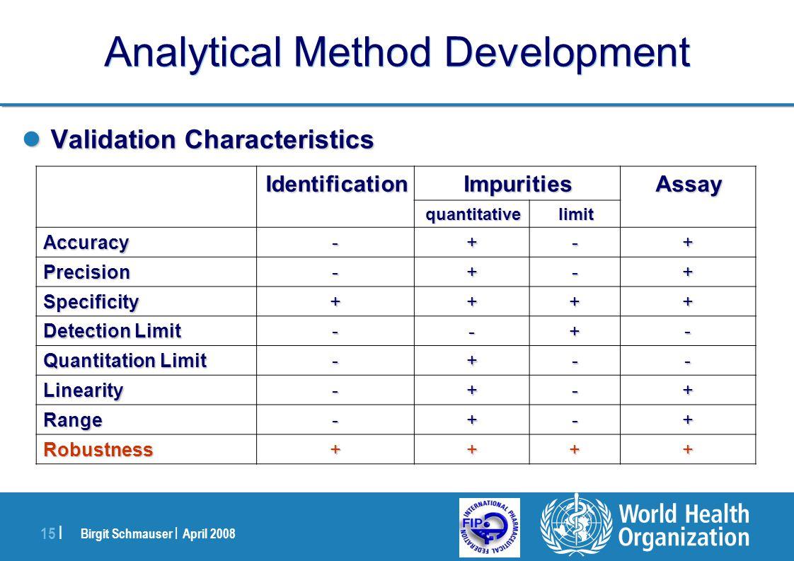 Birgit Schmauser | April 2008 15 | Analytical Method Development Validation Characteristics Validation Characteristics AssayImpuritiesIdentification l