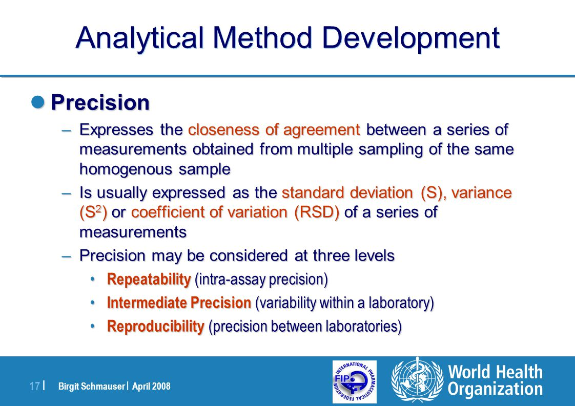 Birgit Schmauser | April 2008 17 | Analytical Method Development Precision Precision –Expresses the closeness of agreement between a series of measure