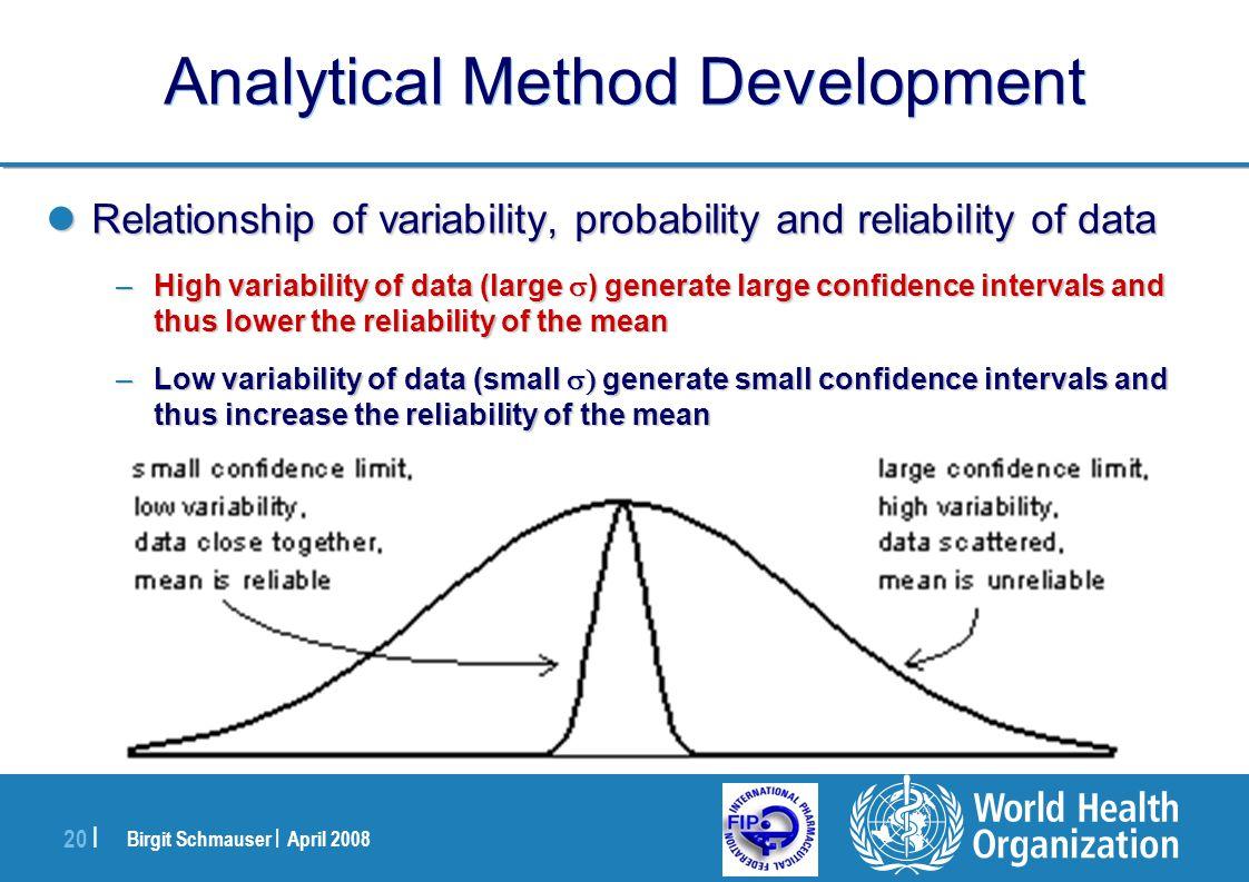 Birgit Schmauser | April 2008 20 | Analytical Method Development Relationship of variability, probability and reliability of data Relationship of vari