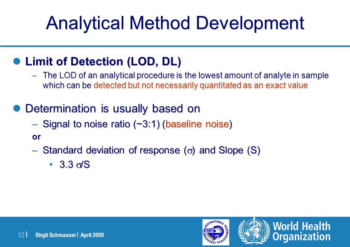 Birgit Schmauser | April 2008 32 | Analytical Method Development Limit of Detection (LOD, DL) Limit of Detection (LOD, DL) –The LOD of an analytical p