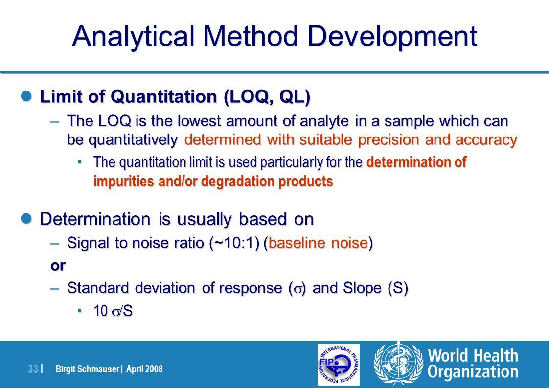 Birgit Schmauser | April 2008 33 | Analytical Method Development Limit of Quantitation (LOQ, QL) Limit of Quantitation (LOQ, QL) –The LOQ is the lowes