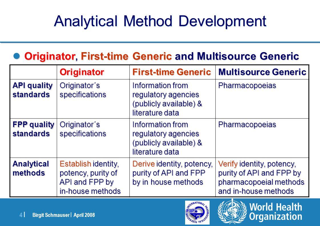 Birgit Schmauser | April 2008 4 |4 | Analytical Method Development Originator, First-time Generic and Multisource Generic Originator, First-time Gener