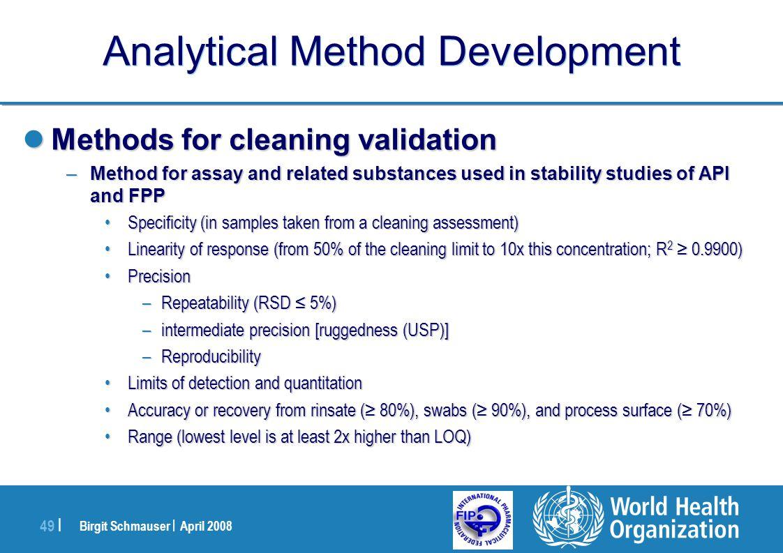 Birgit Schmauser | April 2008 49 | Analytical Method Development Methods for cleaning validation Methods for cleaning validation –Method for assay and