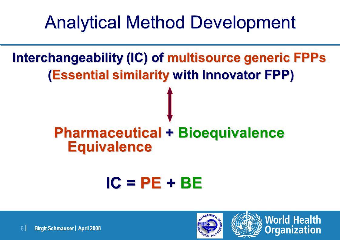 Birgit Schmauser | April 2008 6 |6 | Analytical Method Development Interchangeability (IC) of multisource generic FPPs (Essential similarity with Inno
