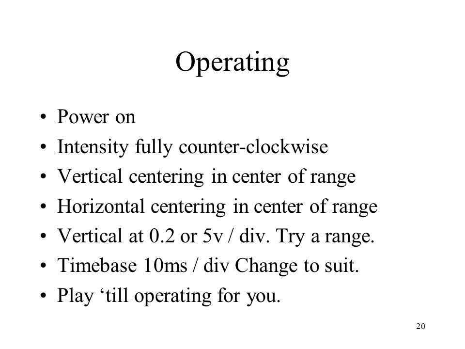 20 Operating Power on Intensity fully counter-clockwise Vertical centering in center of range Horizontal centering in center of range Vertical at 0.2 or 5v / div.