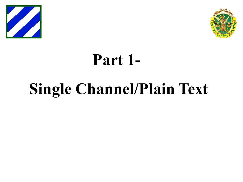 Part 1- Single Channel/Plain Text