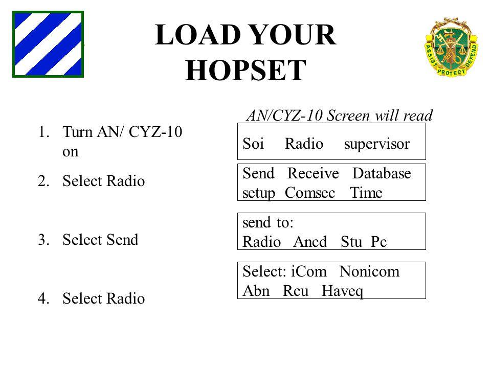 LOAD YOUR HOPSET 1.Turn AN/ CYZ-10 on 2.Select Radio 3.Select Send 4.Select Radio AN/CYZ-10 Screen will read Soi Radio supervisor Send Receive Databas