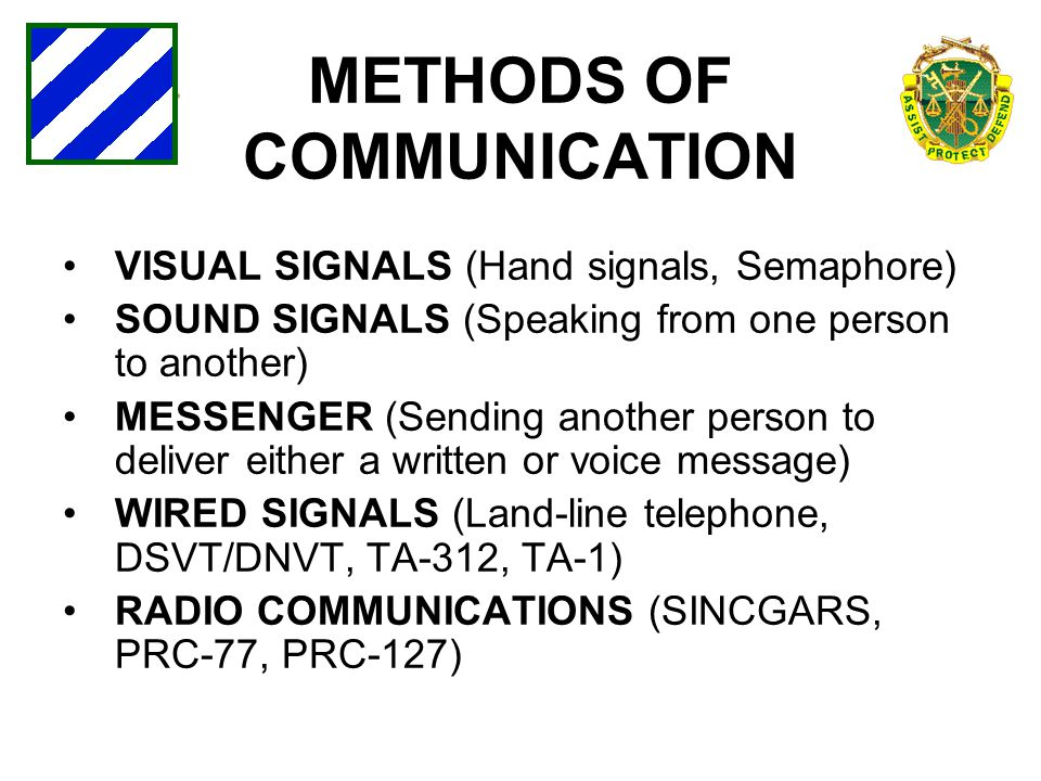 METHODS OF COMMUNICATION VISUAL SIGNALS (Hand signals, Semaphore) SOUND SIGNALS (Speaking from one person to another) MESSENGER (Sending another perso