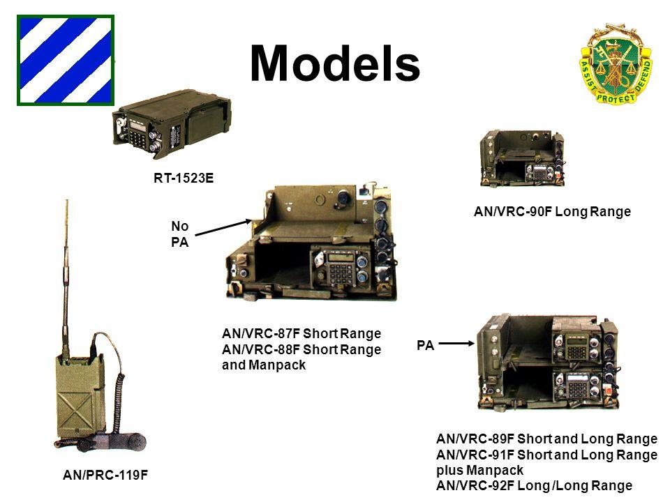 AN/PRC-119F AN/VRC-90F Long Range AN/VRC-87F Short Range AN/VRC-88F Short Range and Manpack No PA AN/VRC-89F Short and Long Range AN/VRC-91F Short and